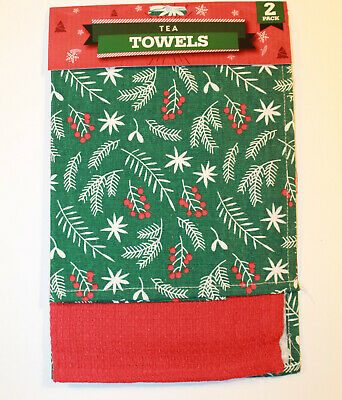 Pack of 2 Novelty Christmas Tea Towels Cotton Rich Home Kitchen Cloth Snowflake