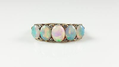 Antique Victorian 18Ct 18Kt Yellow Gold Opal & Diamond Ring Circa 1900