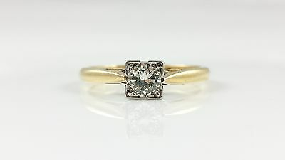 Vintage 18Ct 18Kt Yellow Gold & Platinum 0.25Ct Diamond Ring - C1940