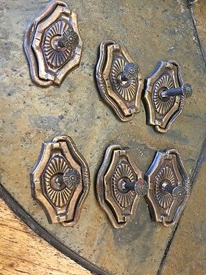 Brass Oval Furniture Drawer Pulls Handles Set Pull Handle Old Lot of 6 Vintage