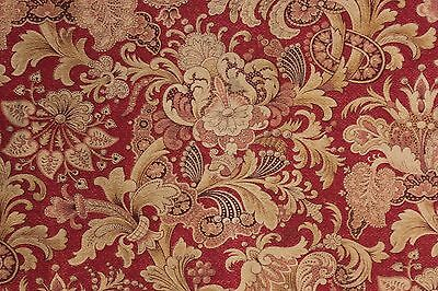 1880 antique Fabric printed cotton red Art Nouveau material old