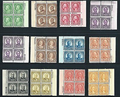 US Stamps: 632-634, 635, 635a-642 Plate Blocks Mint, o.g.,NH (cv$399.75)