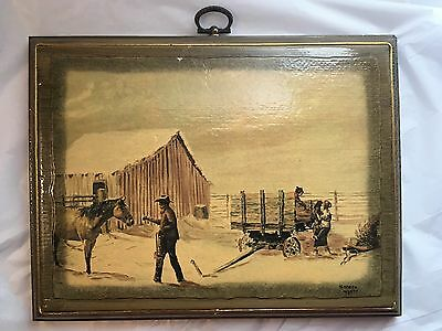 Vintage shellacked On Wood Plaque Kenneth Wyatt Print 7 X 9