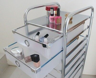 New Makeup Beauty Cosmetic Hairdressing Nail Vanity 7 In 1 Salon Trolley Stand