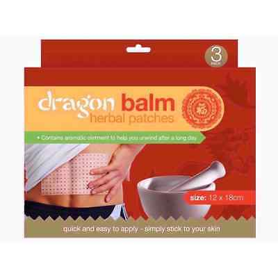 3 x Dragon Balm Chinese Herbal Natural Remedy Heat Patches Plasters OTL