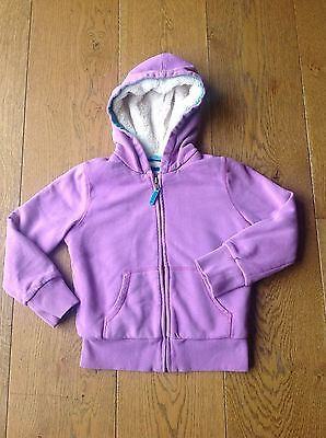 Mini Boden Fleece Lined Zip Through Jacket Purple Girls Age 6-7 Years