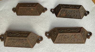 Set Of 4 Vintage 1871 Drawer / Bin Pull Cast Iron