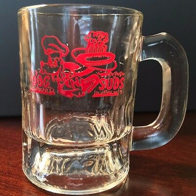 "Vintage Dog N Suds Small Glass Rootbeer Mug 3 1/4"" Tall Red CLEAR BRIGHT GRAPHIC"