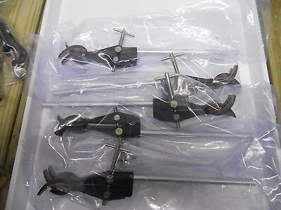 5   Retort Stand Clamps  4 Prong Cork Lined ( Black)