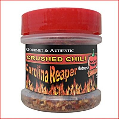 GOURMET AUTHENTIC CAROLINA REAPER FLAKES CRUSHED WORLD HOTTEST PEPPER 1/2 oz .5