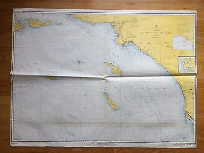 Large Map San Diego California Nautical Chart 1966