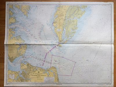 Large Map Chesapeake Bay Virginia Nautical Chart 1961