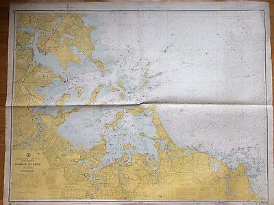 Large Map Boston Harbor Massachusetts Nautical Chart 1966