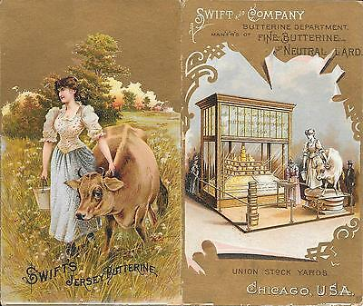 Rare-2 Attached Swift And Company Postcards-1 Showing Exhibits At 1893 Columbian