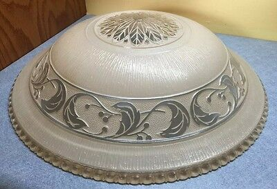 "Antique Vintage Big 16"" Art Deco Ecru clear & painted Ceiling Light Cover Glass"
