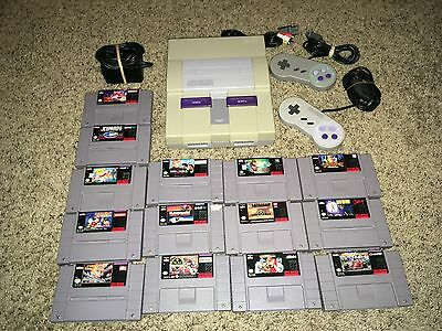 Super Nintendo (SNES) Console Bundle w/ Two Controllers And 14 Great Games!