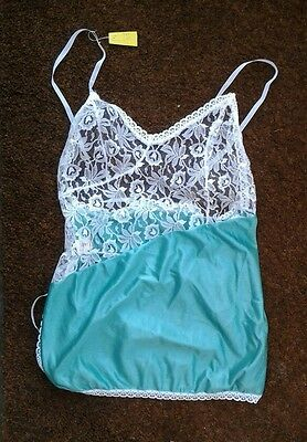 Vintage Camisole Top by Ann Summers Green with White Lace size M