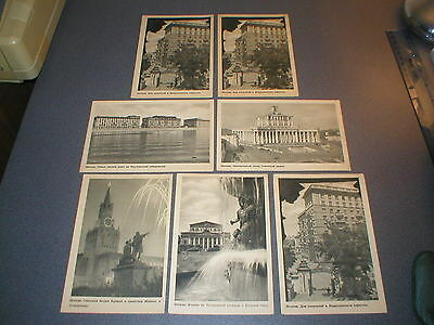 7 Vintage b&w Postcards of Moscow Russia Soviet Union USSR