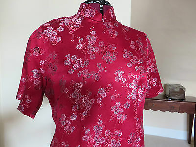 HALF PRICE!!  SILK BROCADE Traditional Oriental Chinese Cheong Sum Dress - L