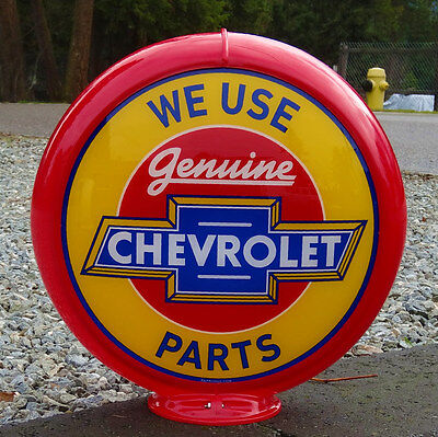 We Use Genuine Chevrolet Parts - Gas Pump Advertising Globe / Sign Early Logo