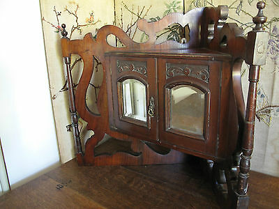 Small Vintage Corner Wall Mounted Cupboard  Antique Hand Made Corner Cupboard