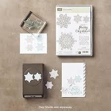 Stampin up Flurry of Wishes photopolymer stamp set + Snow Flurry punch