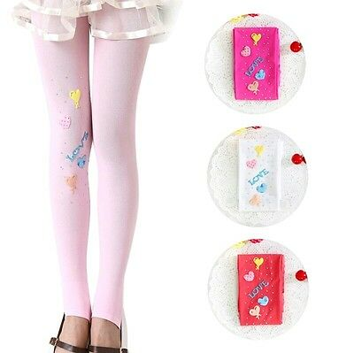 Girls Pink Love Hearted Slim Warm Tights age 5-6 Years.
