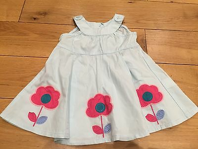 Next Baby Girls Blue Dress With Flowers On Size - 0 - 3 Months