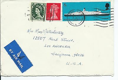 GREAT BRITAIN Sc# 303,499,575 COVER CANCELLED 1969 LONDON TO USA