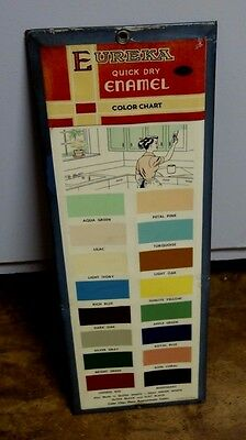 Vintage Eureka Quick Dry Enamel Paint Color Chart Advertising Sign By Permanent
