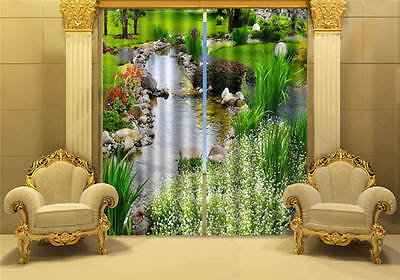 Stream Through Park 3D Customize Blockout Photo Curtains Print Home Window Decor