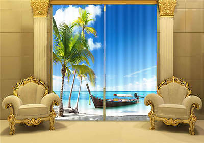 Sailboat Palm Tree 3D Customize Blockout Photo Curtains Print Home Window Decor