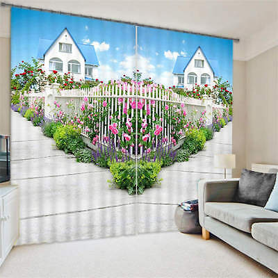 Garden House Fence 3D Customize Blockout Photo Curtains Print Home Window Decor