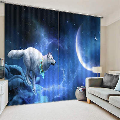 Wolf Running To Moon 3D Customize Blockout Photo Curtain Print Home Window Decor