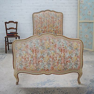 Antique Louis style French upholstered Shabby Chic bed