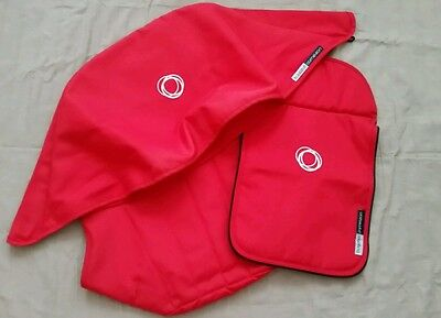 Bugaboo cameleon 1, 2 & 3 red canvas fabric set Hood, apron and seat cover .