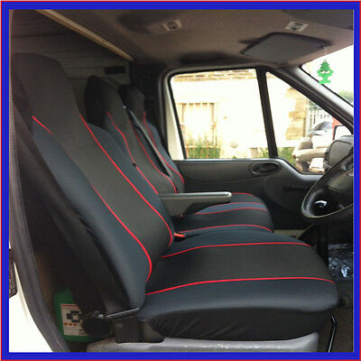 Ford Transit Lwb Heavy Duty Deluxe Van Seat Covers Blue Piping 2+1