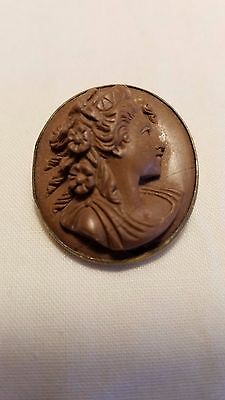 Victorian Lava Cameo Brooch High Relief Brown Woman Flowers Silver Mounting