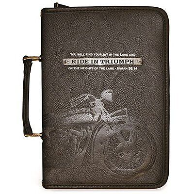 Ride in Triumph Isaiah 58:14 Black 9 x 11 Faux Leather Bible Cover X-Large
