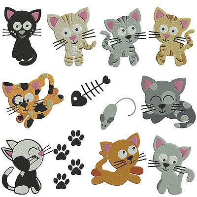 CATS 1 * Machine Embroidery  Pattern CD * 12 designs x 2 sizes