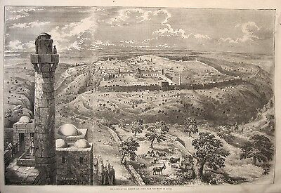 Rare 1853 JERUSALEM PALESTINE Holy Land GENERAL VIEW PRINT Judaica-Israel