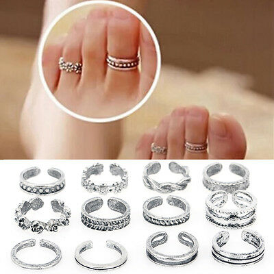 Silver Plated Retro Carved Flower Toe Ring Adjustable Foot Fashion Jewelery
