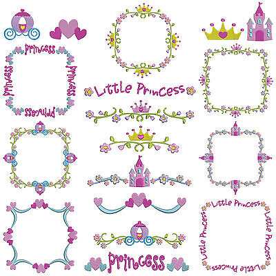 Princess Borders & Frames * Machine Embroidery Patterns * 18 Designs, 2 Sizes