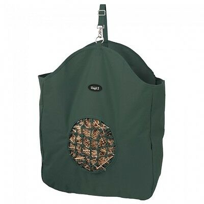 Tough 1 hunter green hay bag slow feed tote with poly net horse tack equine