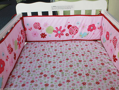 4pc Cotton Baby Crib Cot Bumpers Pad Padded & Quilted Full Surround - Ladybug