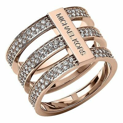 Michael Kors MKJ3781 Rose Gold Crystal Pave Tiered Ring
