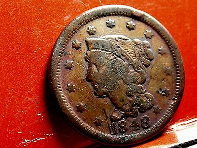 1848 Braided Hair Early Copper Large Cent #1
