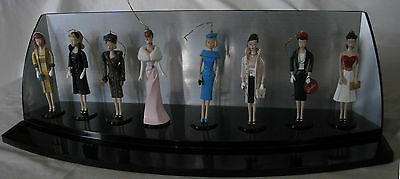 Ashton Drake Heirloom Collection 8 Barbie Ornaments Set w/ Display Shelf