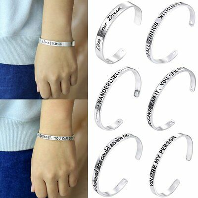Family Fashion's Women Vintage Silver Bangle Punk Cuff Bracelet Engraved Jewelry
