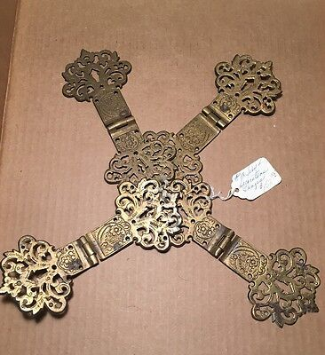 Antique VTG 4 x Eastlake Ornate Brass Furniture Hinge Hardware Salvage F582 F583